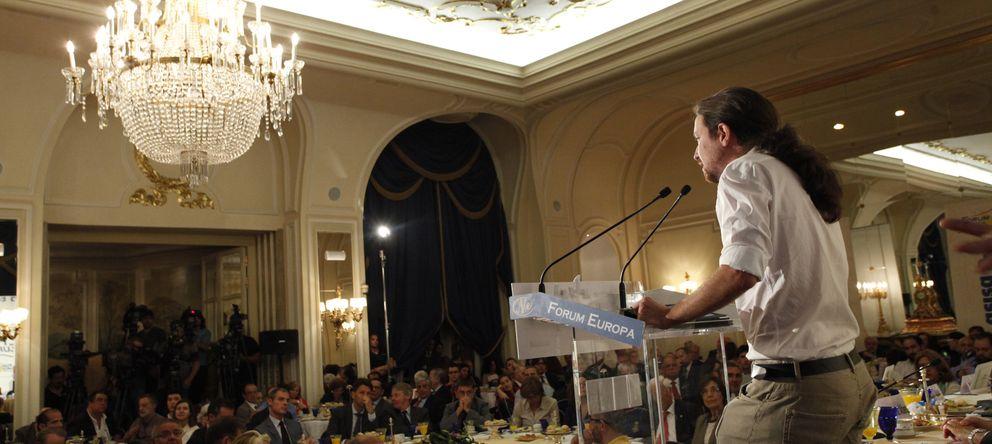 Foto: Pablo Iglesias, ayer durante su discurso en la tribuna de Nueva Economía, en el hotel Ritz (E. Villarino)