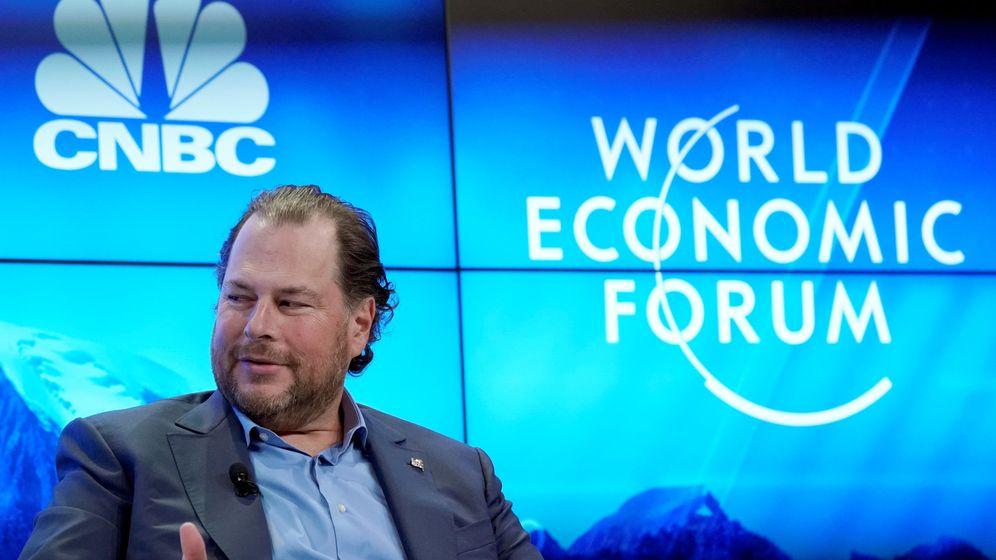 Foto: Marc Benioff, coCEO de Salesforce, en una charla en el Foro Mundial de Davos. (Reuters)