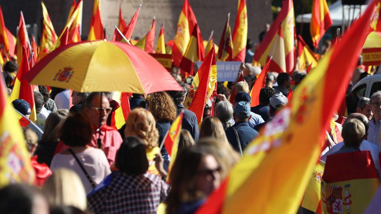 Foto: Una manifestación convocada por la Fundación Denaes para la defensa de la nación española, en la plaza Colón de Madrid. (EFE)