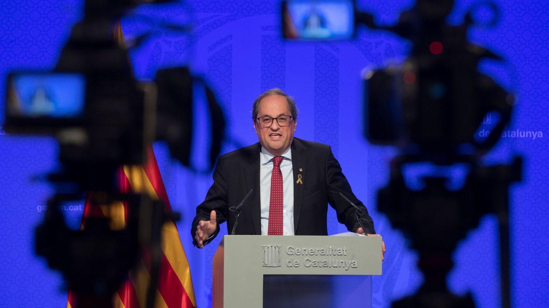 El president de la Generalitat, Quim Torra, en uno de sus frecuentes discursos públicos. (EFE)