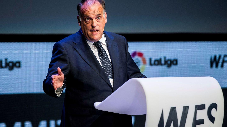 El presidente de LaLiga, Javier Tebas, durante su intervención en el 'World Football Summit'. (EFE)