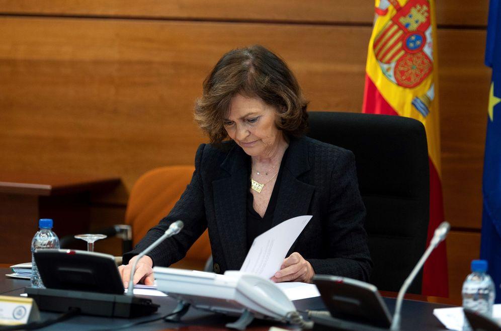 Foto: La vicepresidenta primera, Carmen Calvo, el pasado 16 de marzo en la Moncloa. (EFE)