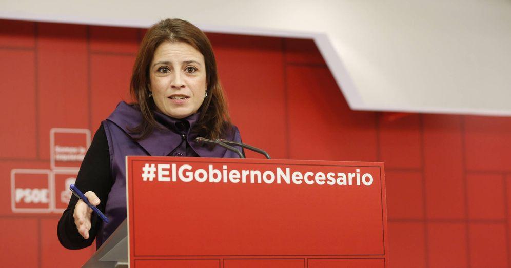 Foto: La vicesecretaria general del PSOE, Adriana Lastra, este 31 de enero en rueda de prensa en Ferraz. (Inma Mesa | PSOE)
