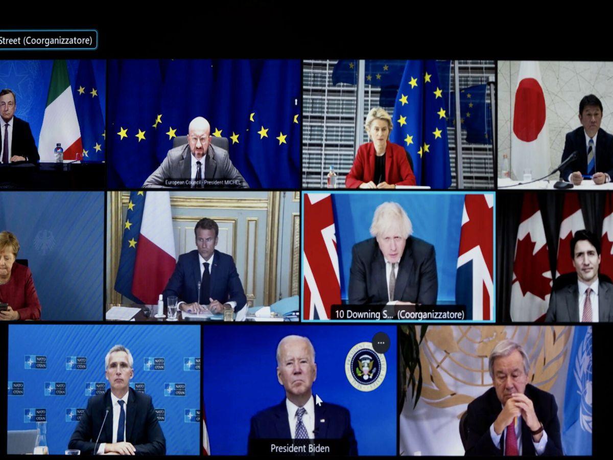 Foto: Una instantánea de la cumbre virtual del G7. (EFE)