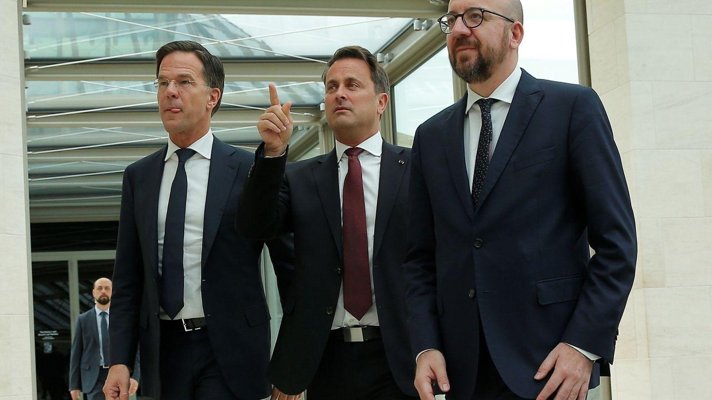 Los primeros ministros liberales de Países Bajos, Luxemburgo y Bélgica. (Reuters)