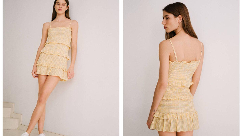 El vestido de Bershka en blanco y amarillo. (Cortesía)