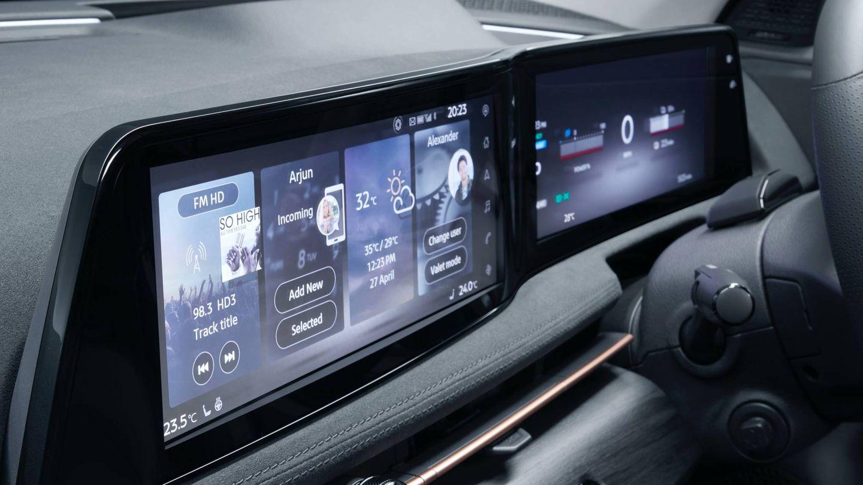 Dos pantallas de 12,3 pulgadas en el puesto de conducción para el cuadro de instrumentos y la consola central.