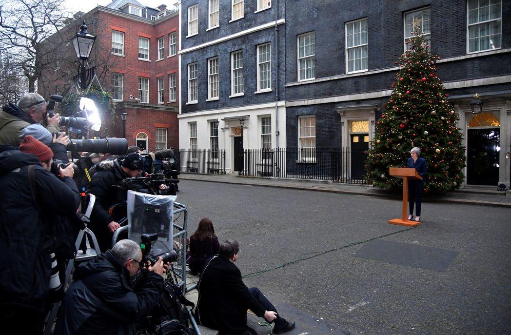 Foto: La primera ministra británica, Theresa May, durante su comparecencia ante los medios en Londres. (Reuters)