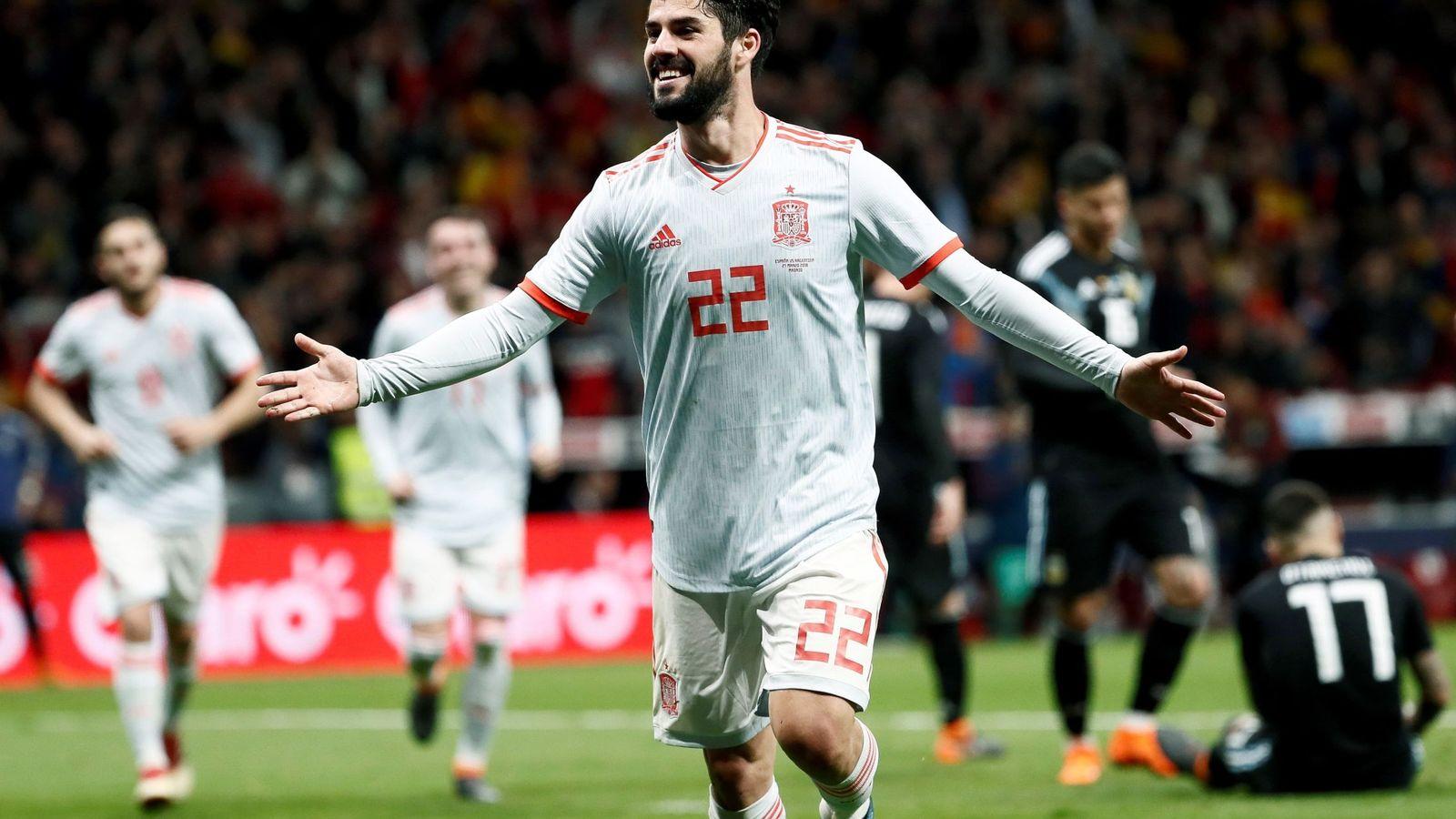 Foto: Isco marcó tres de los seis goles de España ante Argentina. (EFE)