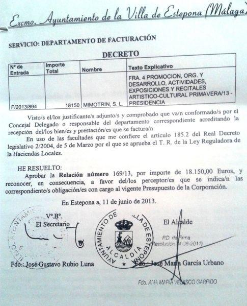 Factura del Ayto. de Estepona