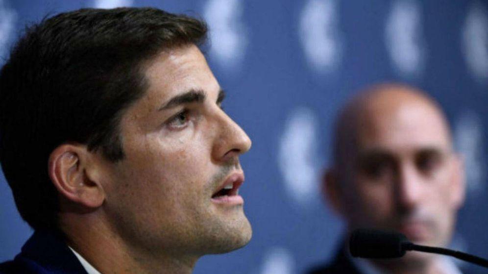 Foto: Robert Moreno, durante su presentación como nuevo seleccionador español. (EFE)