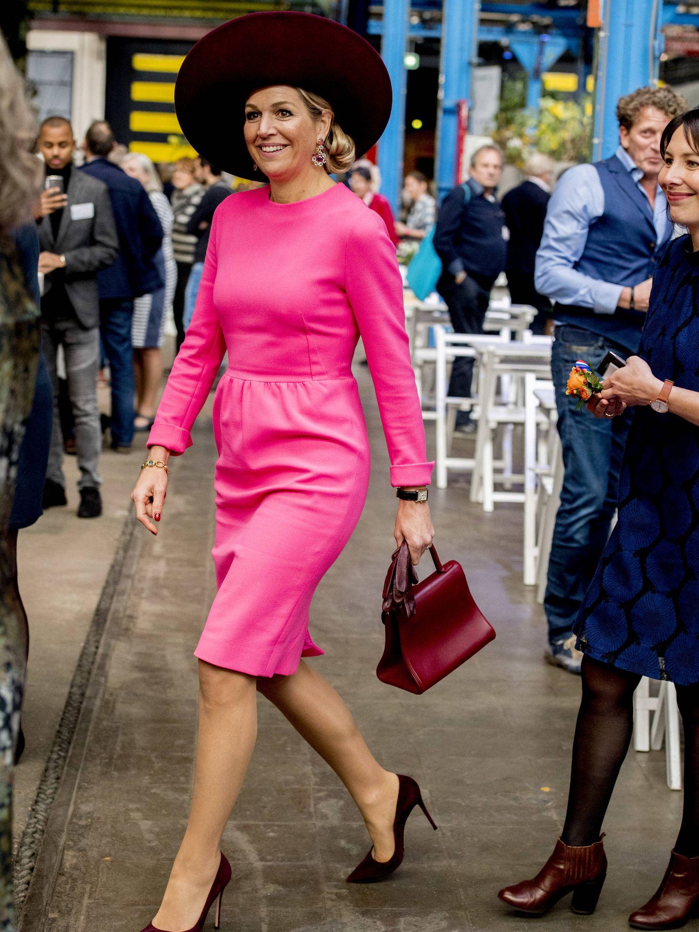 La reina Máxima de Holanda durante su acto de este martes. (Gtres)