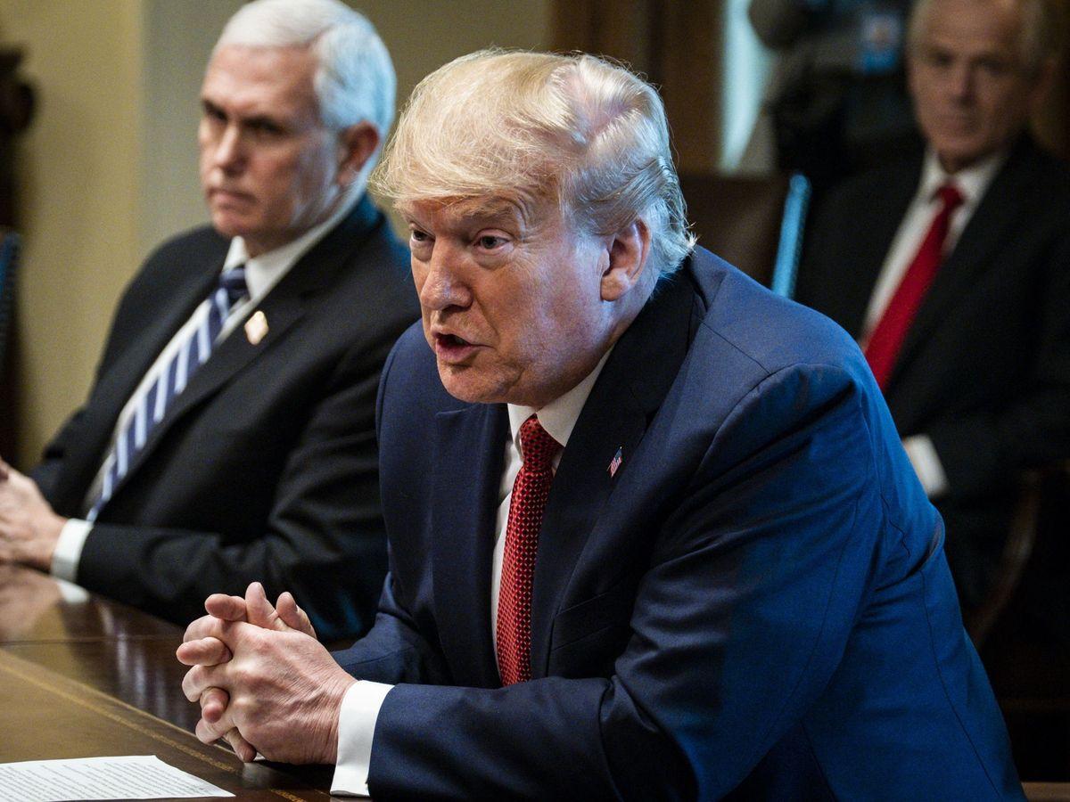 Foto: Donald Trump, con su gabinete de crisis por el coronavirus. (EFE)