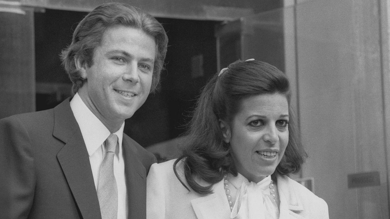 Thierry Roussel y Christina Onassis, el día de su boda, en 1984. (Getty)