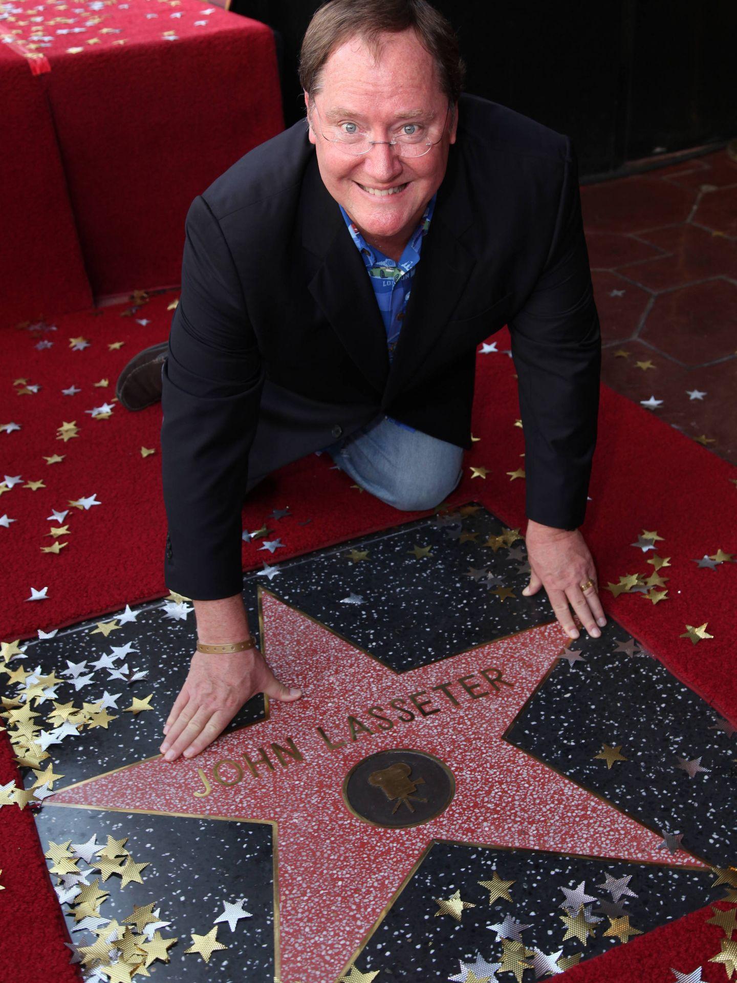 John Lasseter con su estrella en el Paseo de la Fama. (Gtres)