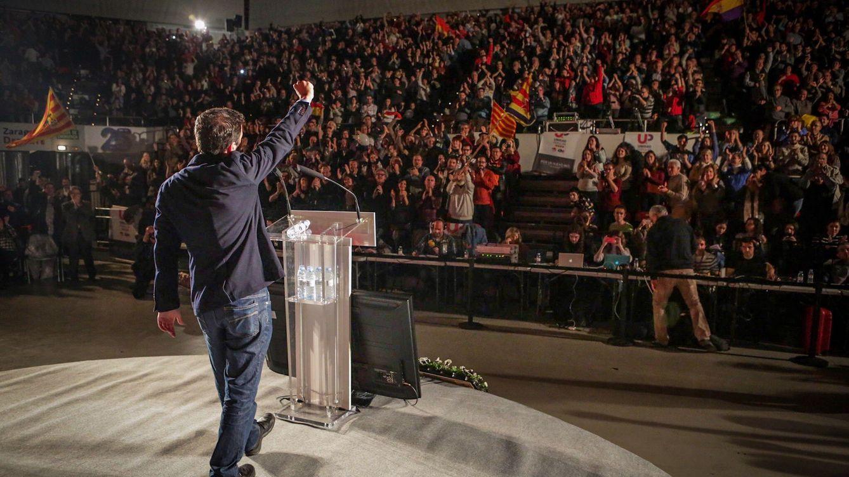 Foto: Alberto Garzón, durante el mitin de Izquierda Unida-Unidad Popular en Zaragoza, el pasado 11 de diciembre. (José Camó)