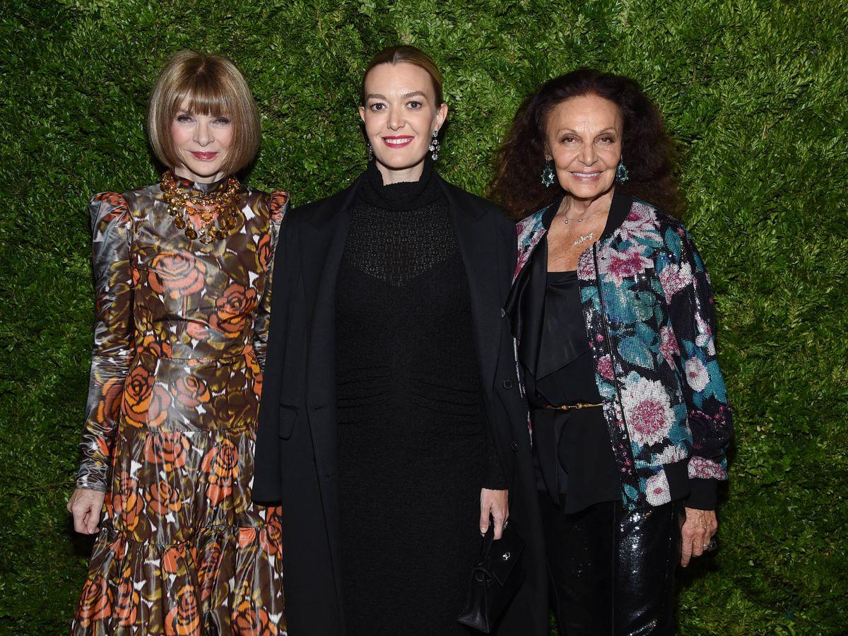 Foto: Anna Wintour, Marta Ortega y Diane von Furstenberg. (Getty)
