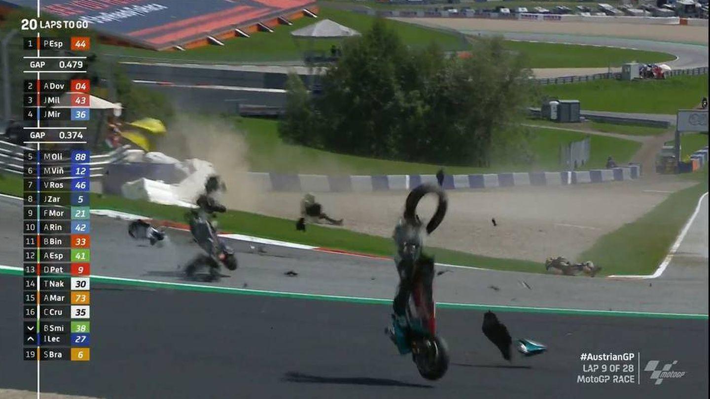 Así fue el brutal accidente entre Zarco y Morbidelli.