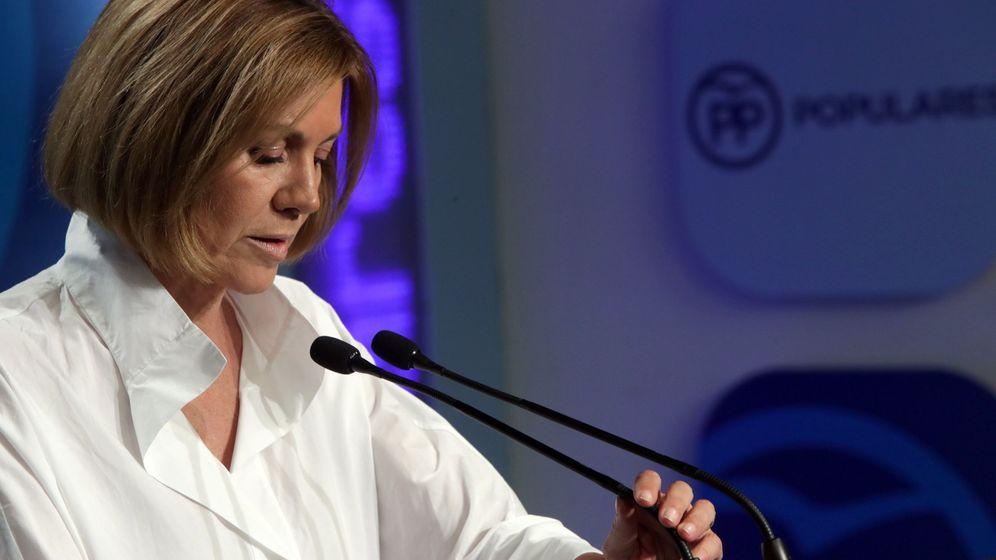 Foto: María Dolores de Cospedal en rueda de prensa tras conocer los resultados. (EFE)