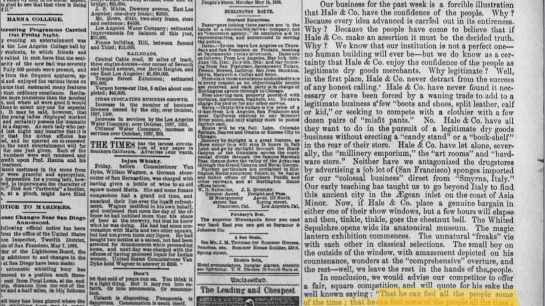 Anuncio de J. M. Hale & Co. LA Times 1888. Pinche en la imagen para abrir la página.