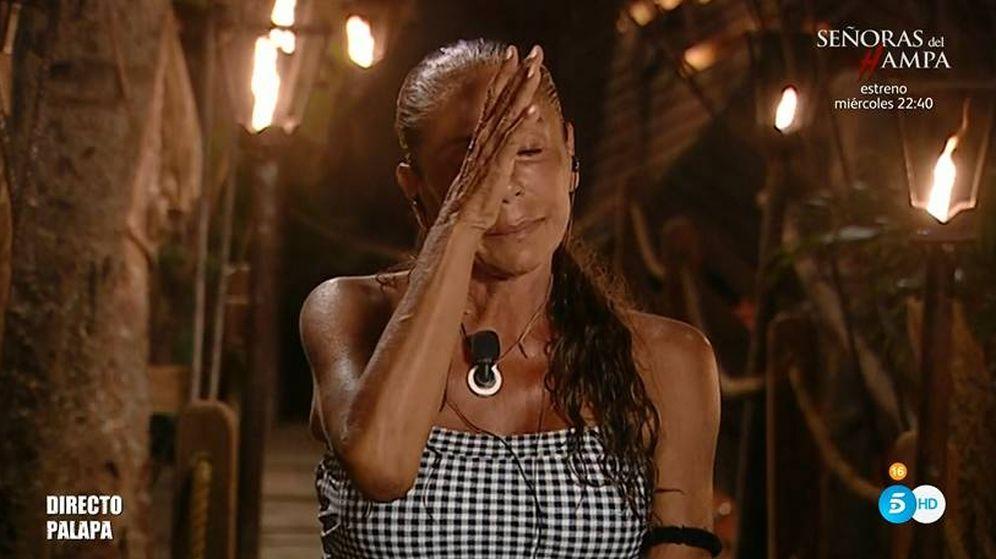 Foto: Isabel Pantoja llorando en 'Supervivientes'. (Telecinco)