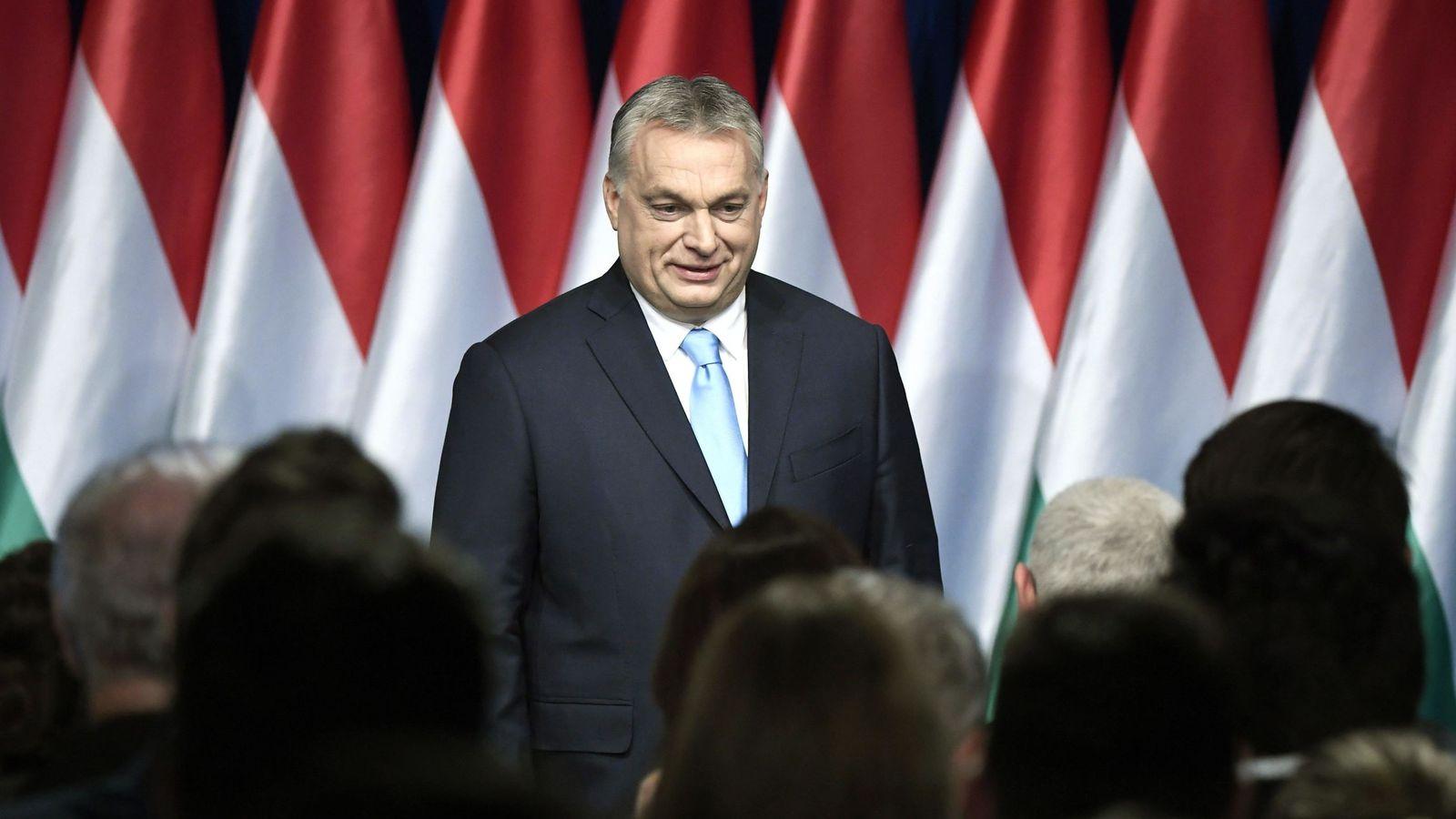 Foto: Víktor Orbán durante su discurso anual a la nación en Budapest, el 10 de febrero de 2019. (EFE)