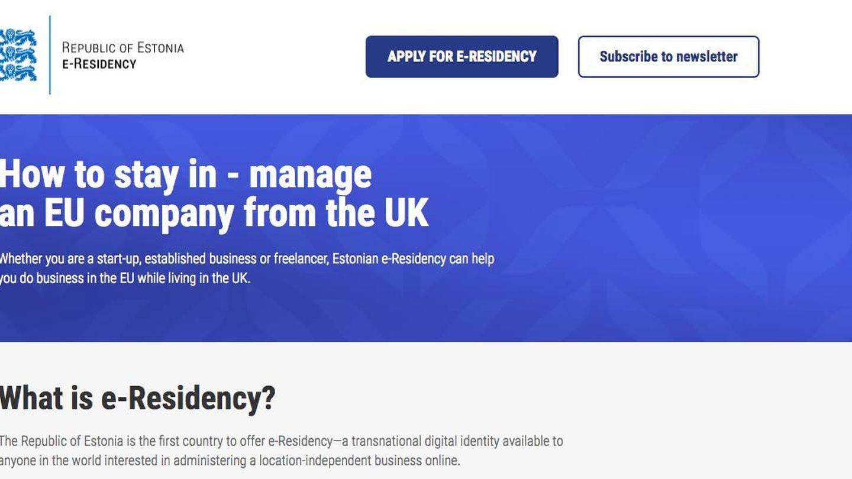 El negocio del Brexit: página web de Estonia para explicar cómo operar una empresa allí desde Reino Unido.