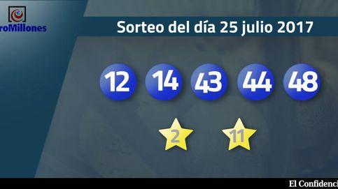Resultados del sorteo del Euromillones del 25 de julio de 2017: números 12, 14, 43, 44, 48