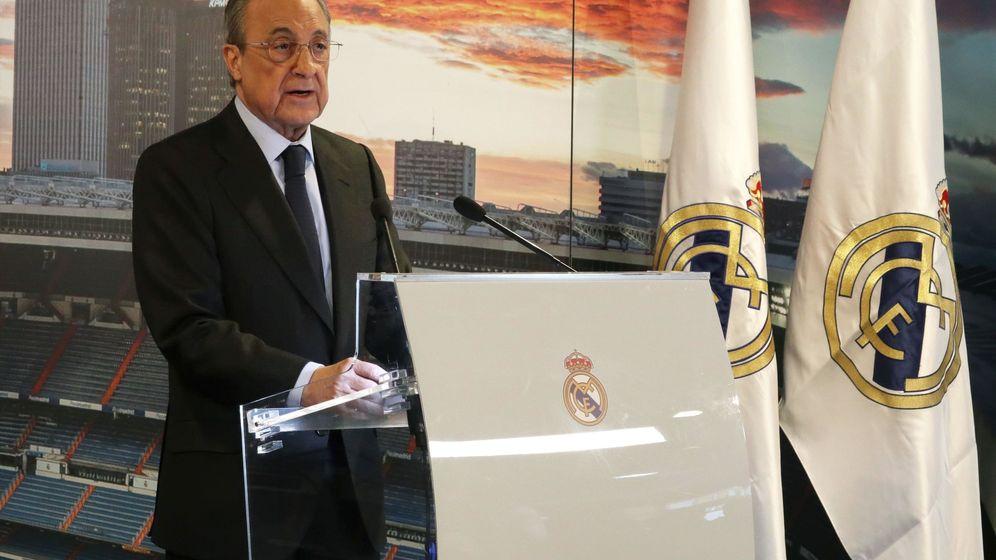 Foto: Florentino Pérez, presidente del Real Madrid, en el antepalco del Bernabéu. (Efe)