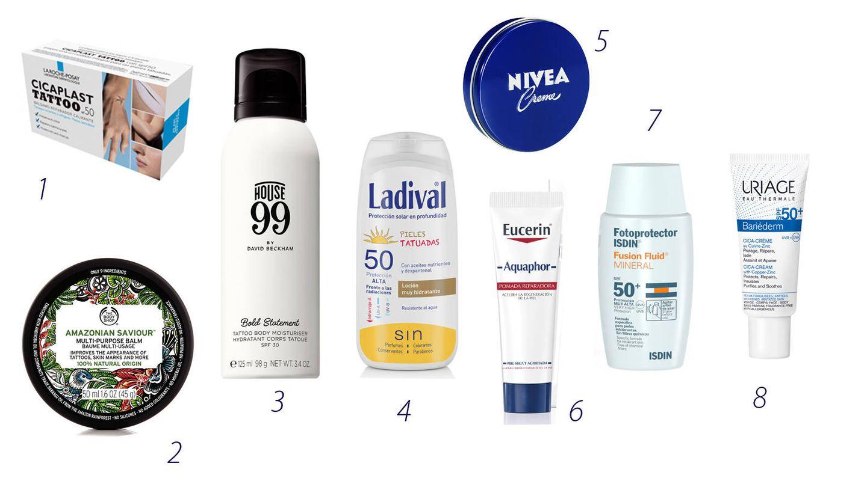Los productos para el cuidado de la piel tatuada.