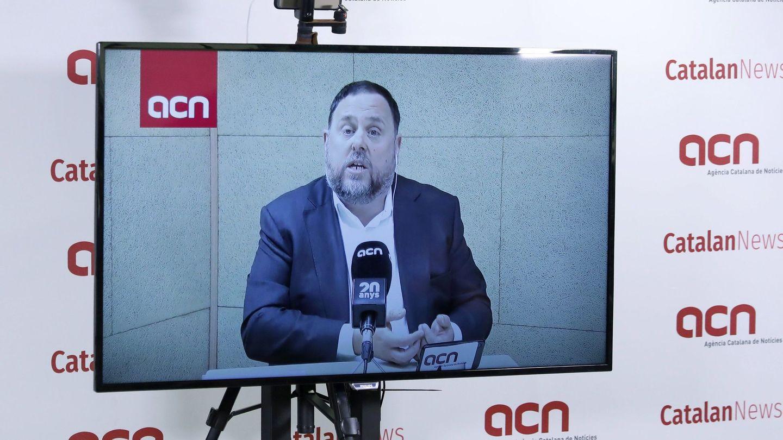 Oriol Junqueras, durante una rueda de prensa desde la cárcel