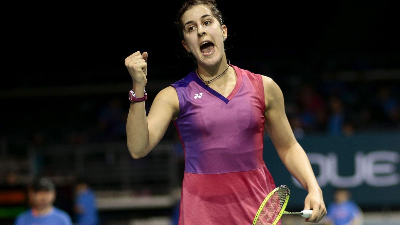 Carolina Marín en el Open de Singapur. (Wallace Woon/EFE)