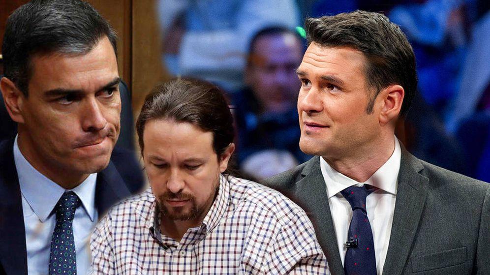 Foto: Iñaki López, en 'La Sexta Noche'; Pedro Sánchez y Pablo Iglesias, en el Congreso de los Diputados. (La Sexta/ RTVE)