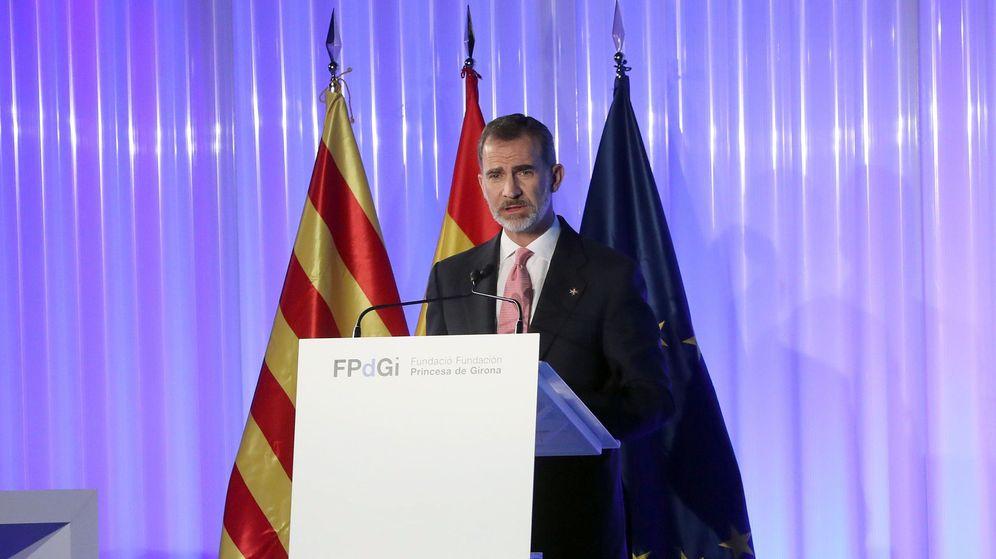 Foto: El rey Felipe VI clausura la ceremonia de entrega de los Premios Princesa de Girona de 2018. (EFE)