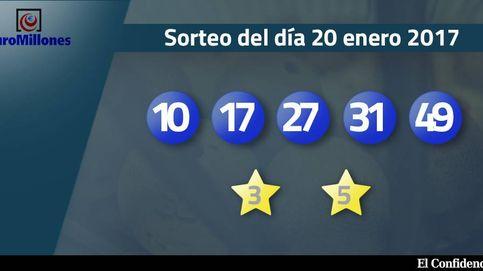 Resultados del sorteo del Euromillones del 20 de enero de 2017: números 10, 17, 27, 31, 49