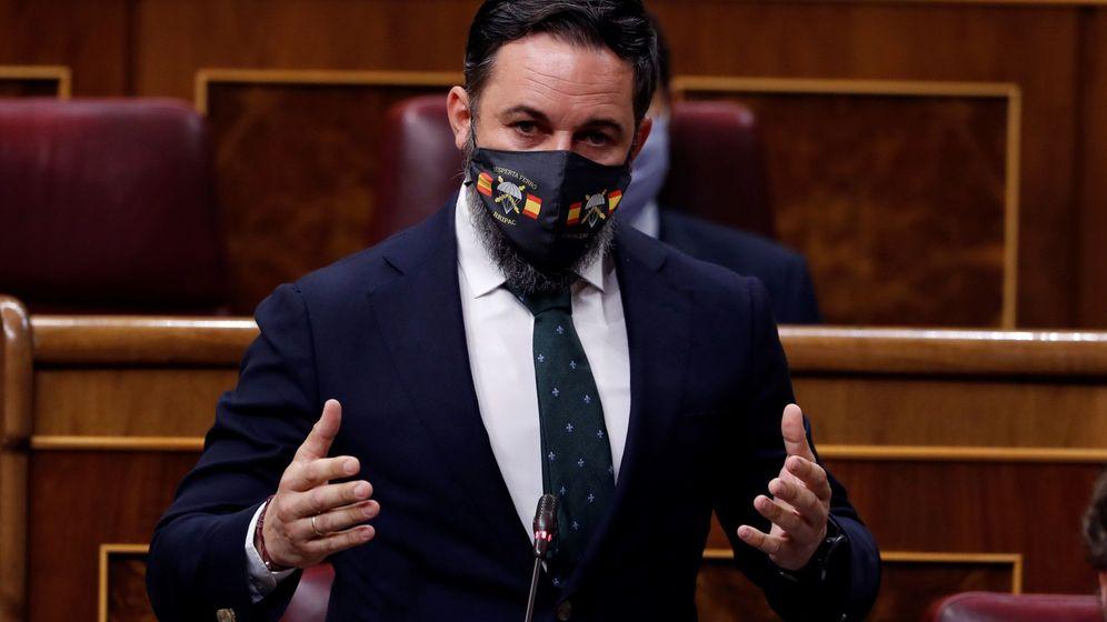 Foto: El líder de Vox, Santiago Abascal, durante una sesión de control al Gobierno en el Congreso. (EFE)