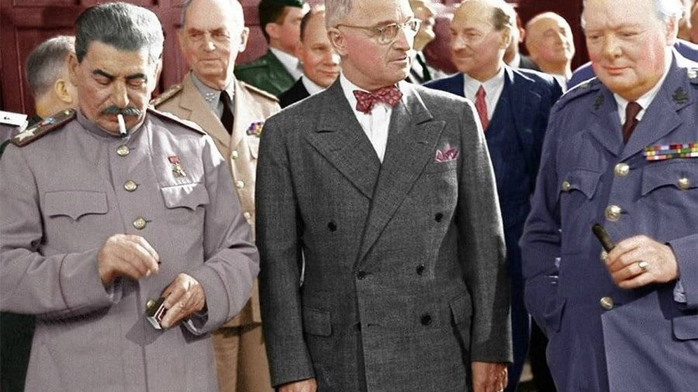 Foto: Stalin, Truman y Churchill en Potsdam.