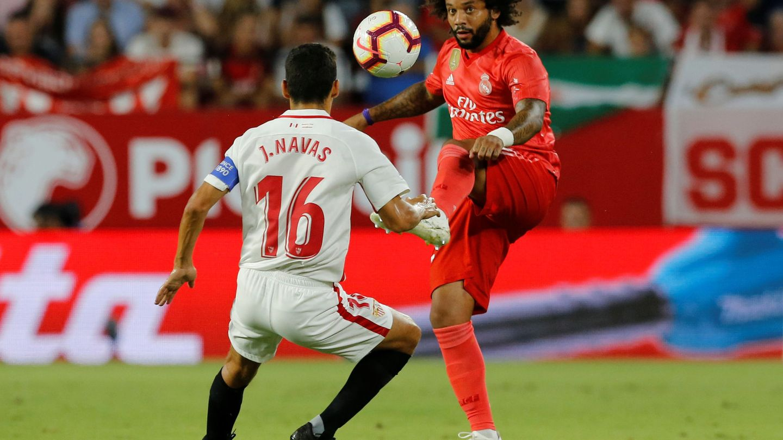 Marcelo, en el partido contra el Sevilla. (Efe)