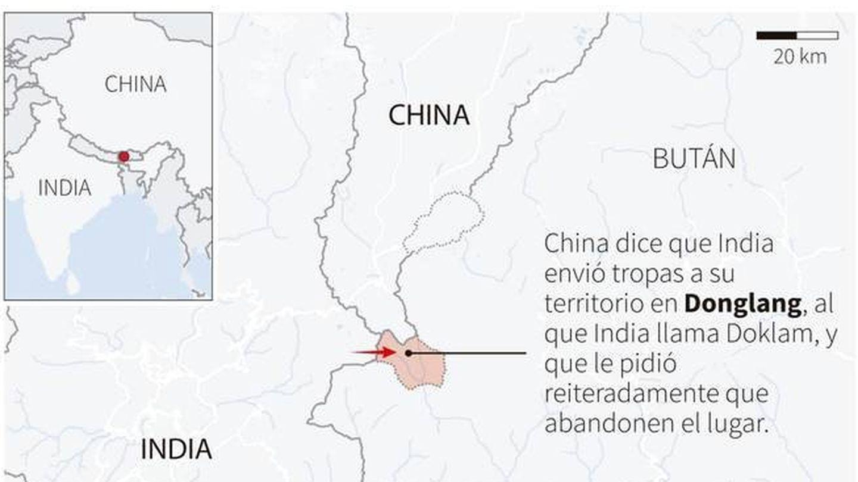 Mapa explicativo sobre el conflicto en Doklam
