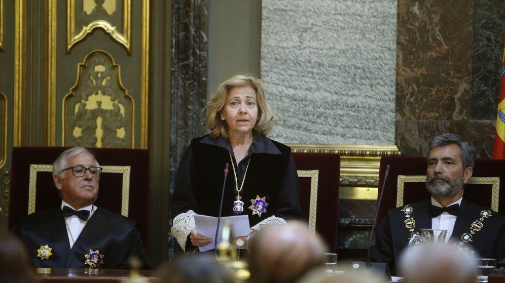 Foto: Consuelo Madrigal en la última ceremonia de apertura del Año Judicial como fiscal general del Estado. (EFE)