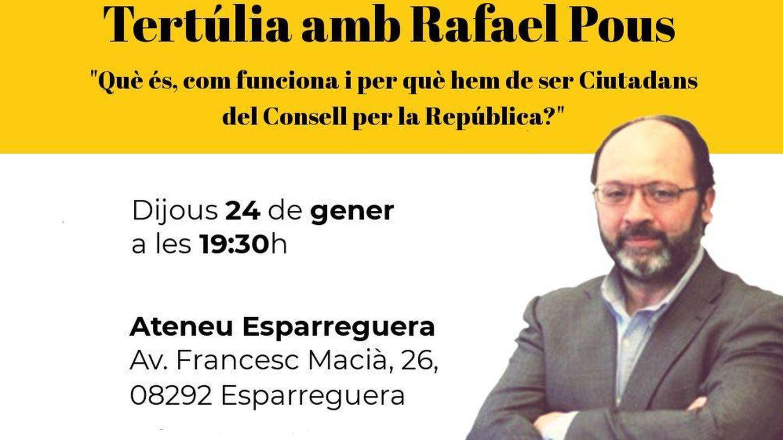 Uno de los flyers que anuncia una conferencia de Rafael Pous