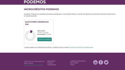 Podemos recauda 180.700 euros a través de microcréditos en 24 horas para el 10N