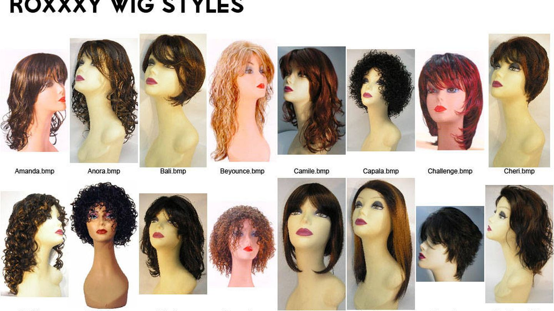 Algunas de las pelucas disponibles para Roxxxy.