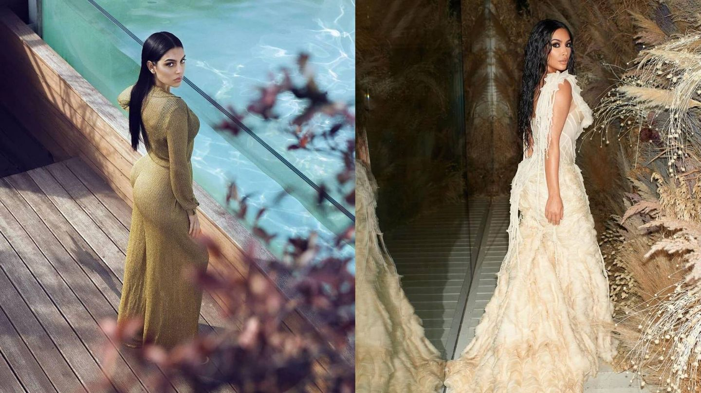 Georgina Rodríguez y Kim Kardashian, poses clónicas. (Instagram)