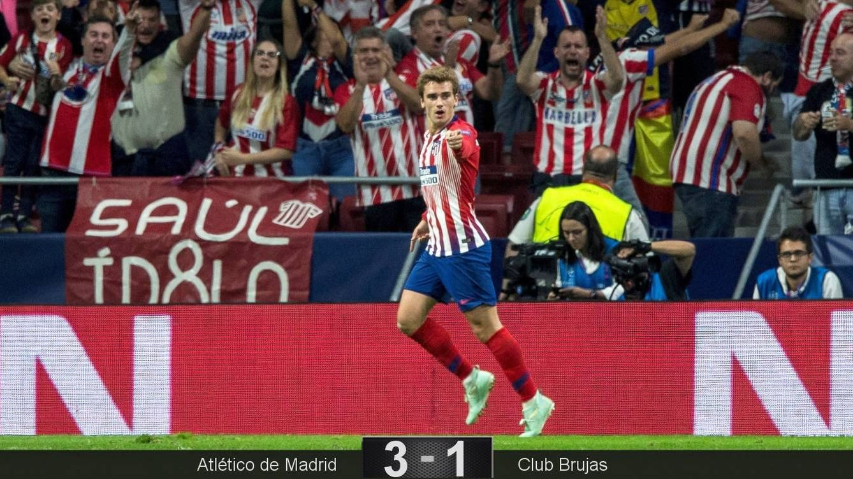 Foto  Griezmann marcó dos de los tres goles del Atlético de Madrid ante el  Brujas e4cc9763942c9