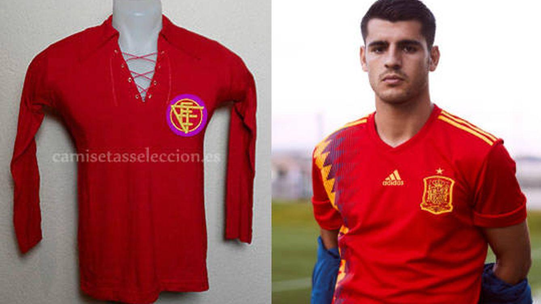 Selección Española de Fútbol  Así era la auténtica camiseta de ... db1315bb60751