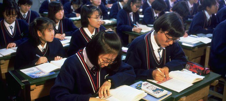 Foto: Un grupo de estudiantes de la Isabel School en Pusan, Corea del Sur. (Corbis)