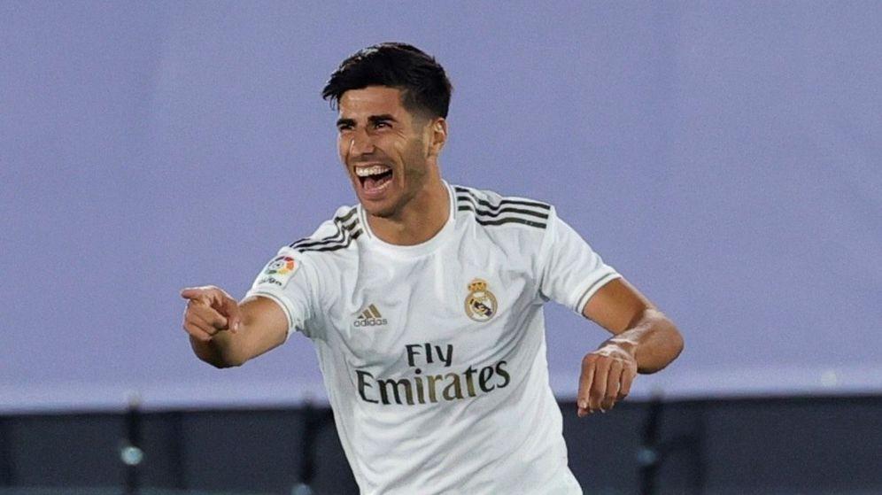 Foto: Marco Asensio celebra un gol con el Real Madrid en la liga. (Efe)