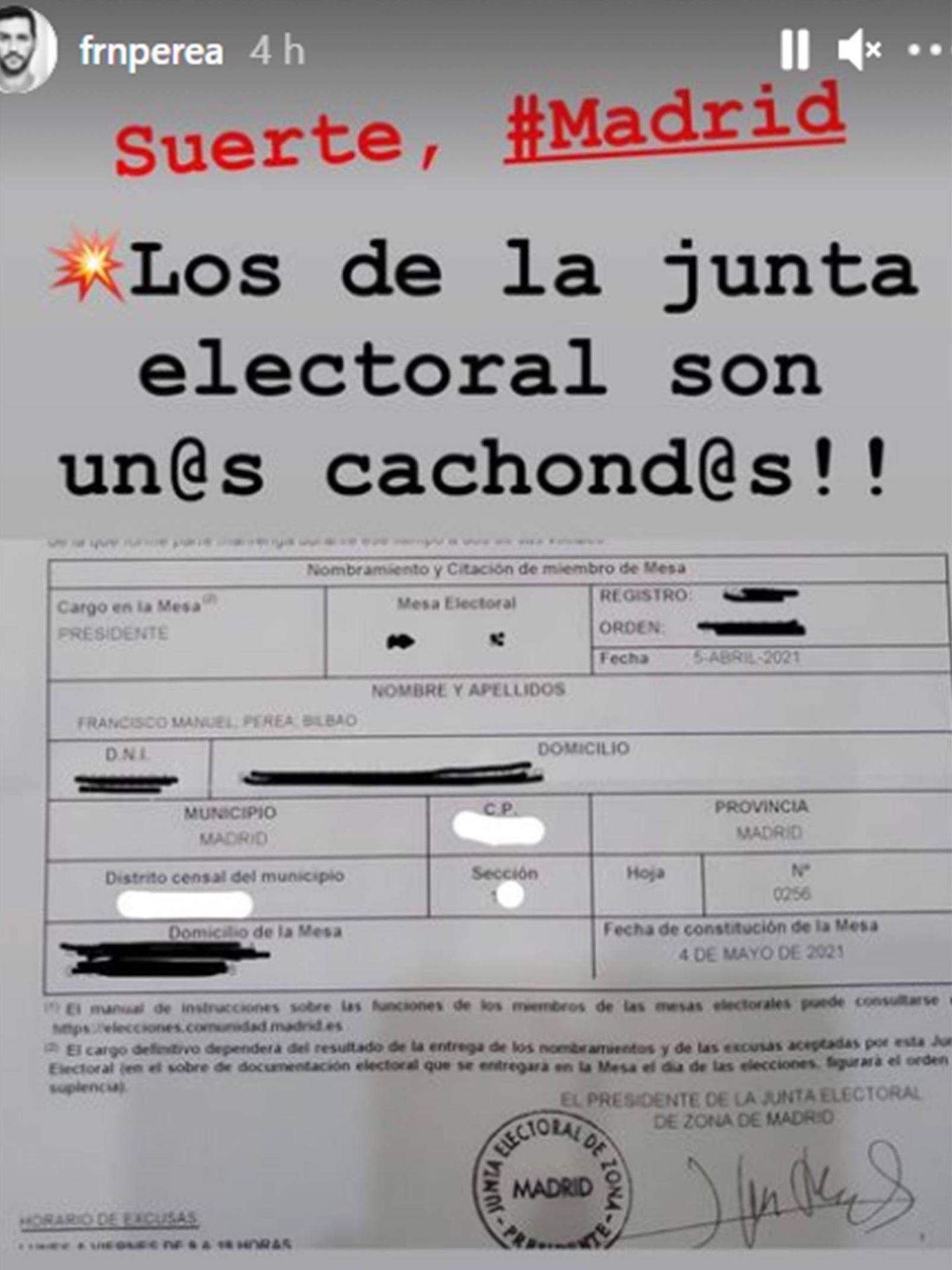 Fran Perea desvela que es presidente de mesa electoral. (Instagram @frnperea)
