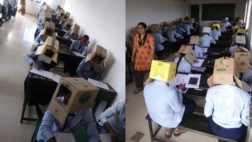 Un instituto coloca cajas de cartón en la cabeza de los alumnos para no copiar